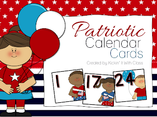 patriotic, calendar, freebie, TpT, Kickin' It With Class