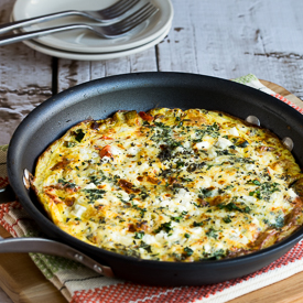 Greek Frittata with Zucchini, Tomato, Feta, and Herbs (Low-Carb, Gluten-Free, South Beach Diet)