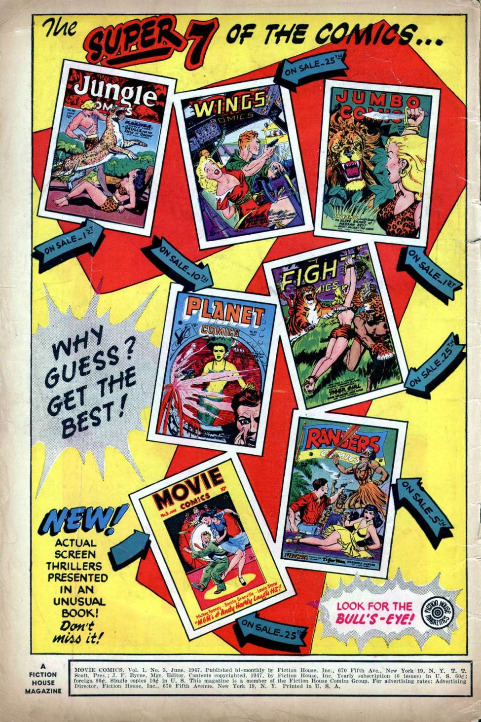 """The Big Six""/ ""The super 7""  Fiction House Comics/"