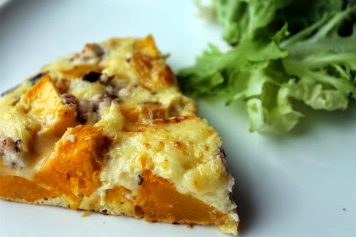 Roasted Pumpkin, Red Onion and Goats Cheese Frittata