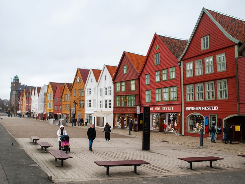 Bergen colourful wooden houses by the bryggen