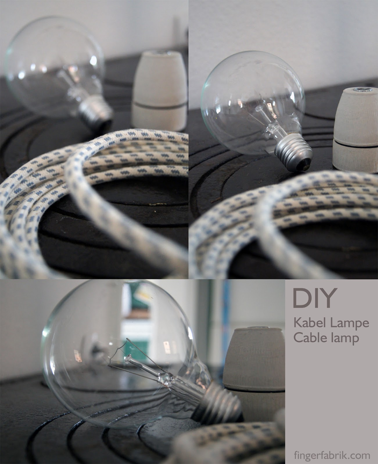 fingerfabrik diy cable lamp tutorial kabel lampe selber bauen. Black Bedroom Furniture Sets. Home Design Ideas