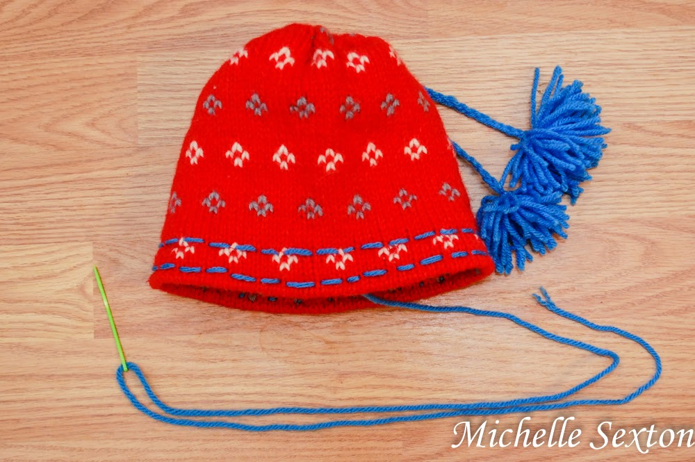 embroider a pattern on the brim