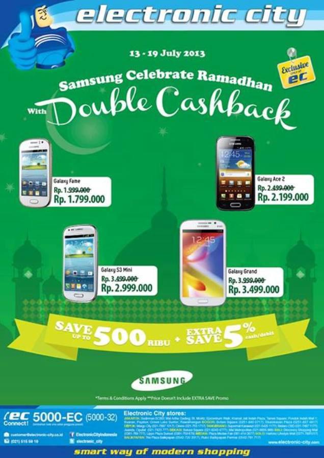Promo Electronic City Terbaru Samsung Double Cashback Periode 13 – 19 Juli 2013