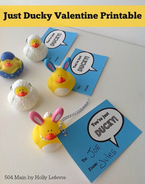 "Add these cute printabel Valentine tags to rubber ducks for a fun non-candy Valentines Day ""treat."""