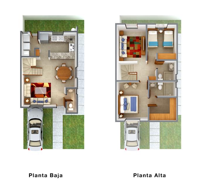 planos de casas 3 recamaras 2 plantas