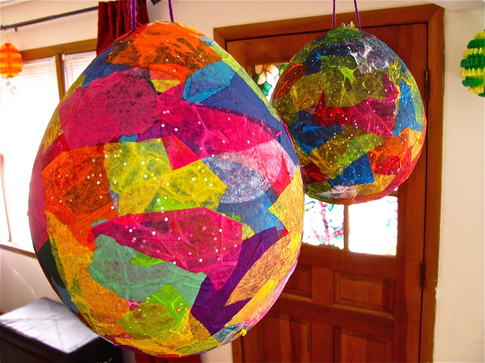 The chocolate muffin tree tissue paper mache easter egg for Paper mache art and craft