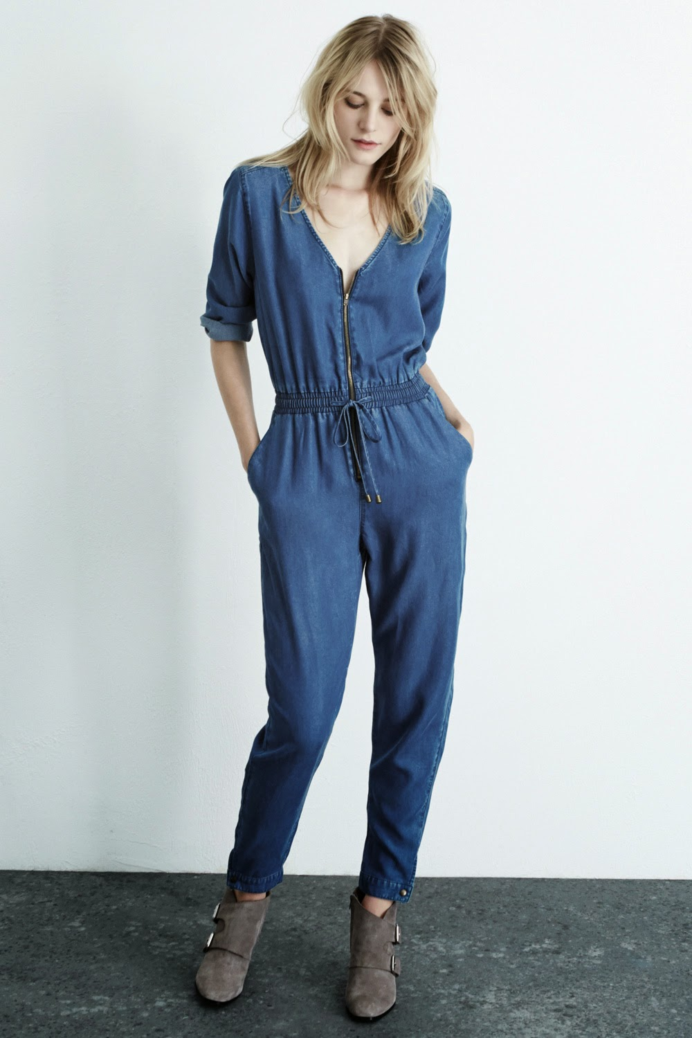 warehouse denim jumpsuit