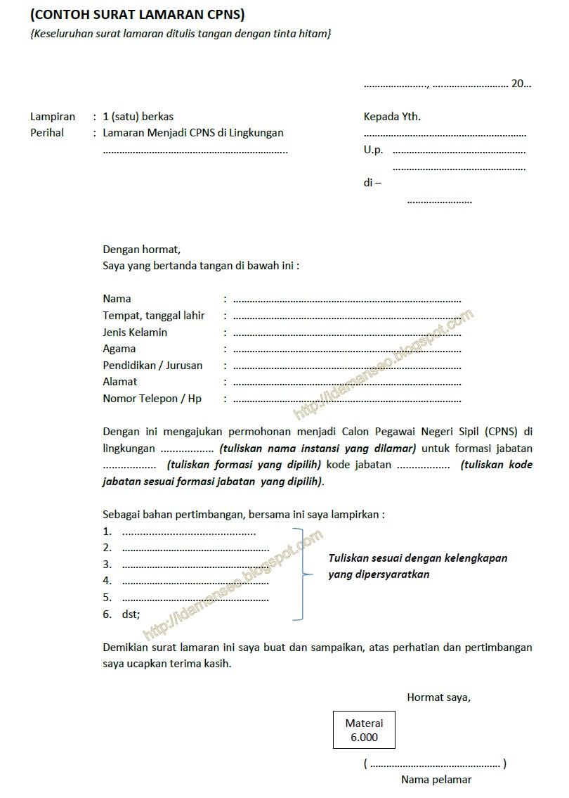 Contoh Surat Lamaran CPNS)
