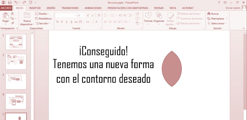 Dibujar con Powerpoint intersectar formas tutorial
