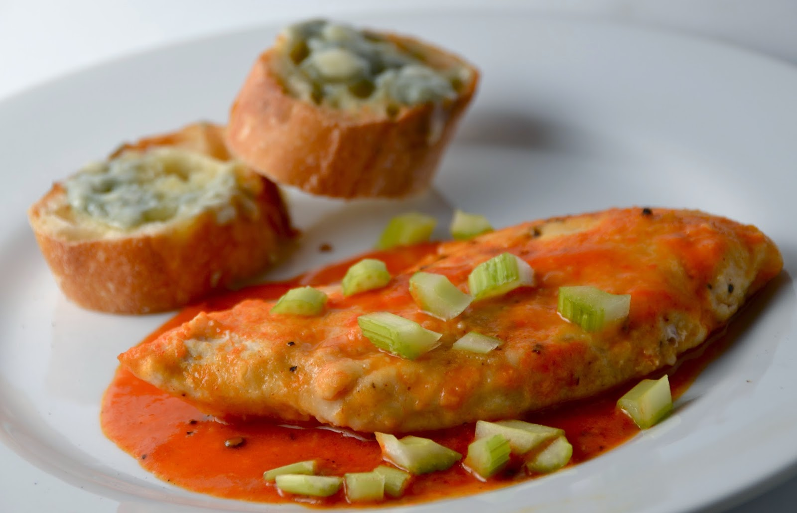 Sauteed Buffalo Chicken Breasts with Blue Cheese Toasts Recipe