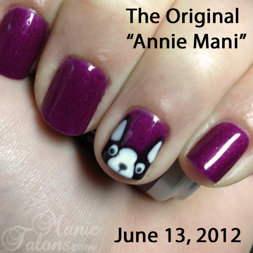 Simple Boston Terrier Nail Art Design