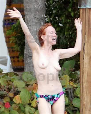 Comedian Kathy Griffin Dances Topless By A Road In Miami Candid Photos