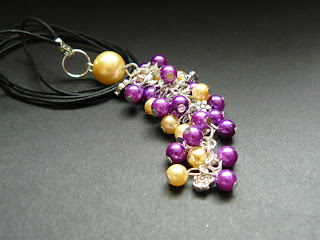 biżuteria z półfabrykatów - fioletowo-żółty komplet (zawieszka)