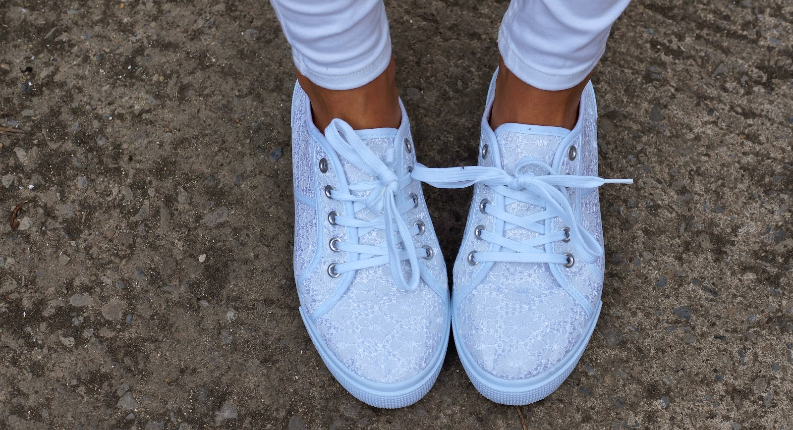 white floral lace trainers