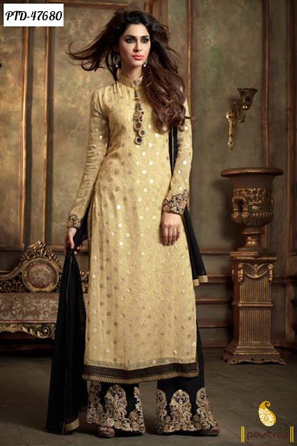 Latest diwali festival discount offer cream chiffon anarkali salwar suit online shopping at pavitraa.in
