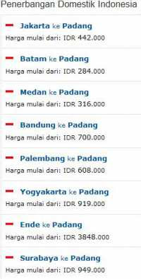 Tiket Penerbangan Domistik ke Padang