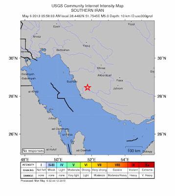 Epicentro sismo 5,1 grados en Irán, 06 de Mayo 2013