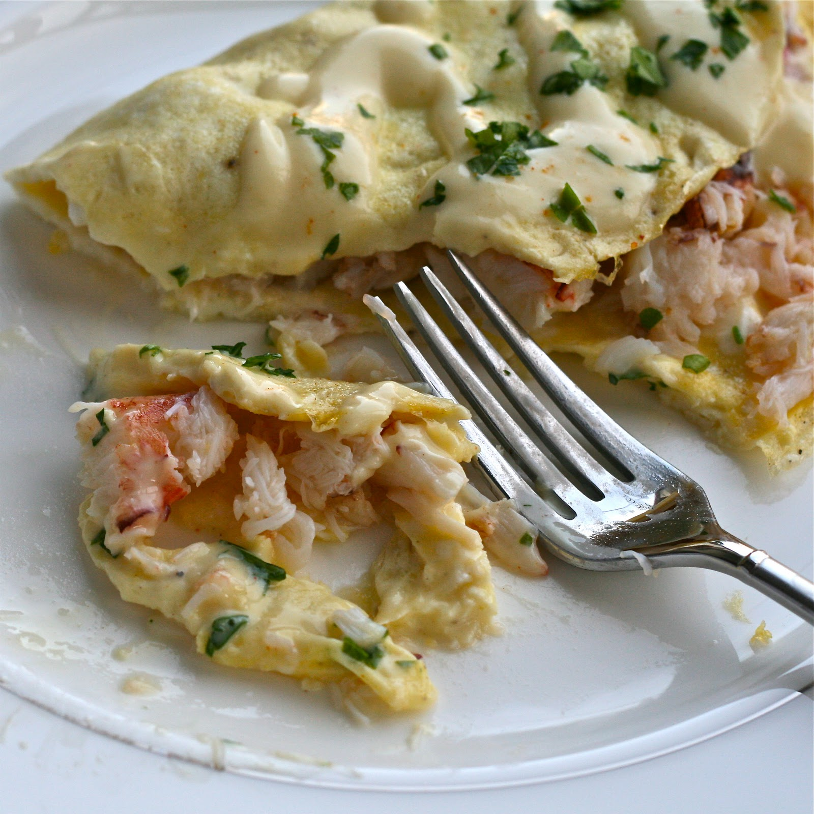 O is for: Omelette with Crab and Mock Hollandaise Sauce