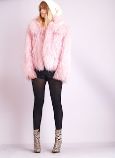Vintage 1980's fluffy bubble gum pink colored Mongolian fur coat.