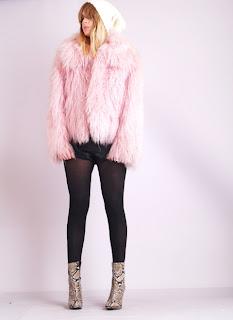 Vintage 1980's fluffy bubble gum pink colored Mongolian fur coat.