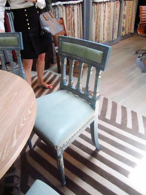 Close up of Swedish Upholstered Back Side Chairs