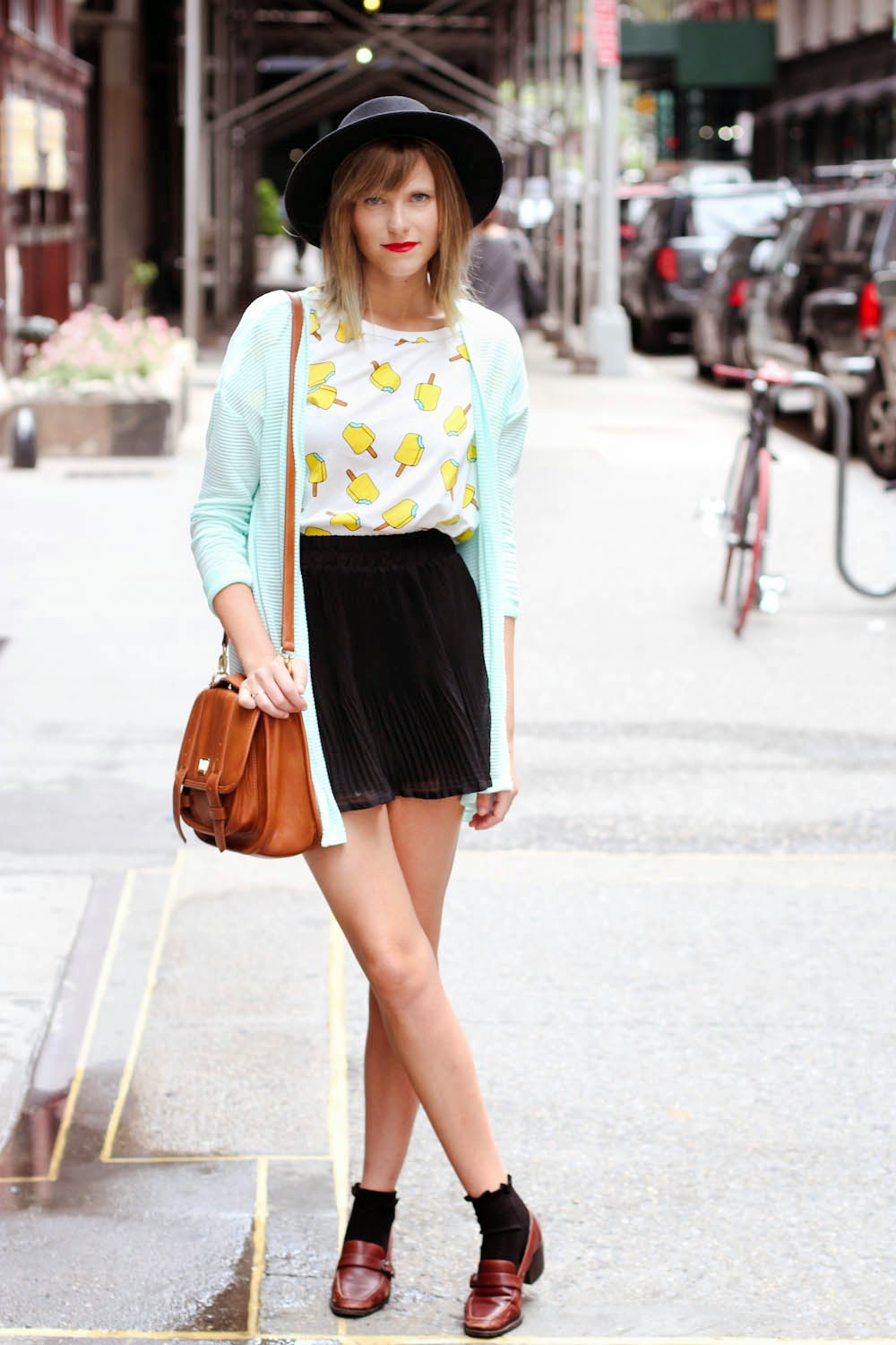 nyc vintage fashion, popsicle shirt, vintage loafers, socks and loafers, forever 21