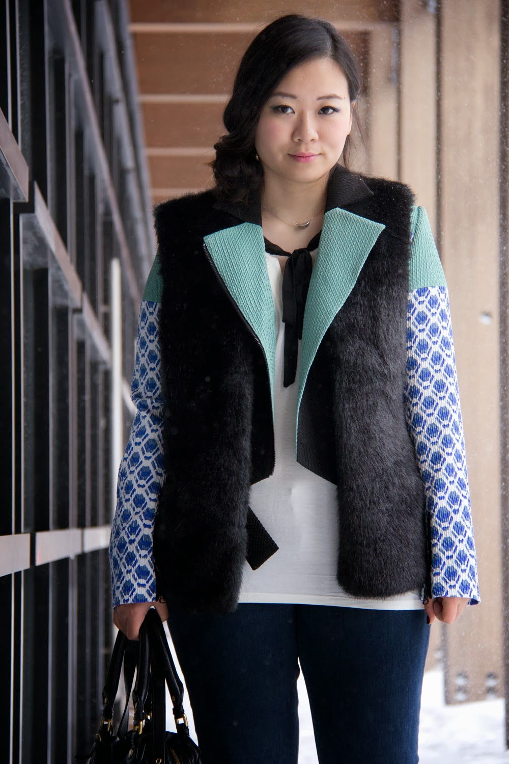Peter-Pilotto-For-Target-Blazer, Bow-tie-White-Top, Faux-Fur-Vest, Business-Casual