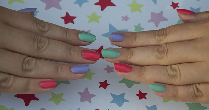 Bright Summer Mix and Match Nail Vanish Art Ideas Pink Mint Lilac