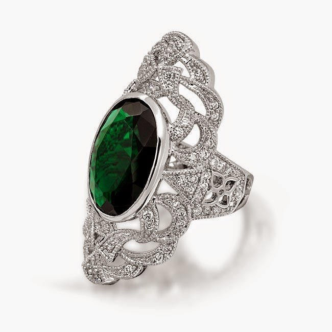 Bling Jewelry Oval Green Emerald Color CZ Gatsby Inspired Armor Ring Art Deco