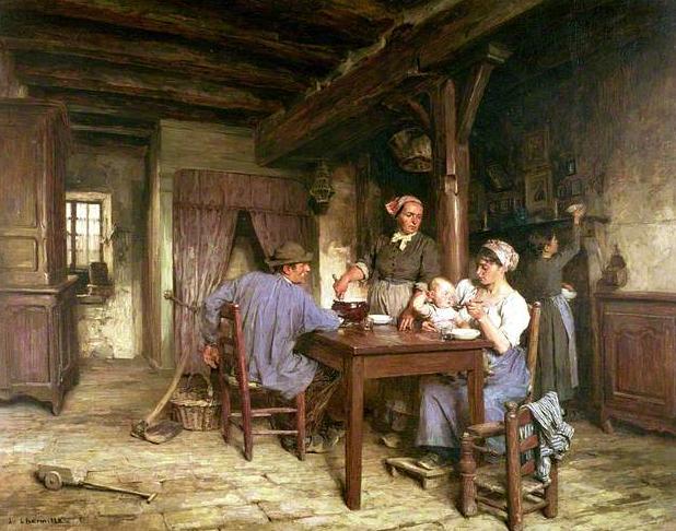 Repas d'antan .... Le+reaps+de+midi+leon-augustin+lhermitte+1875+