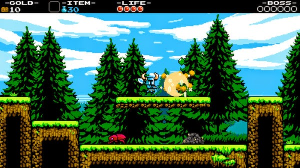 Screenshot of video game Shovel Knight with titular character running through green forest and swinging his shovel.