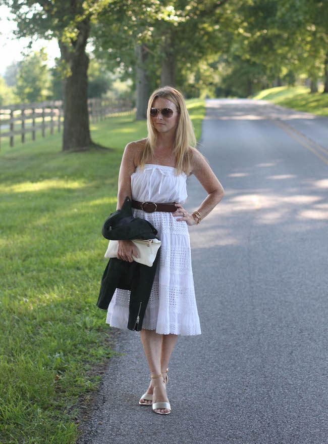 white maxi skirt, topshop jacket, clare v clutch, joie heels, ray ban sunglasses