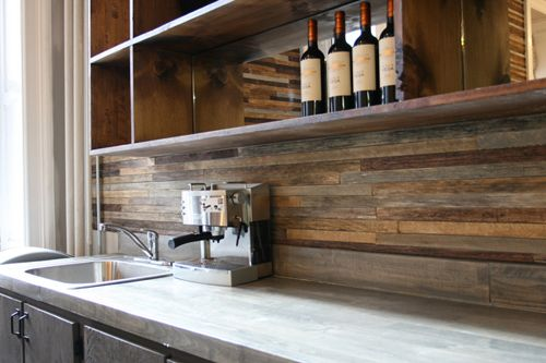 For more information on reclaimed wood as a backsplash please  visitwww.paperplaneco.us/reclaimed-wood - Paper Blog: Reclaimed Wood As A Backsplash