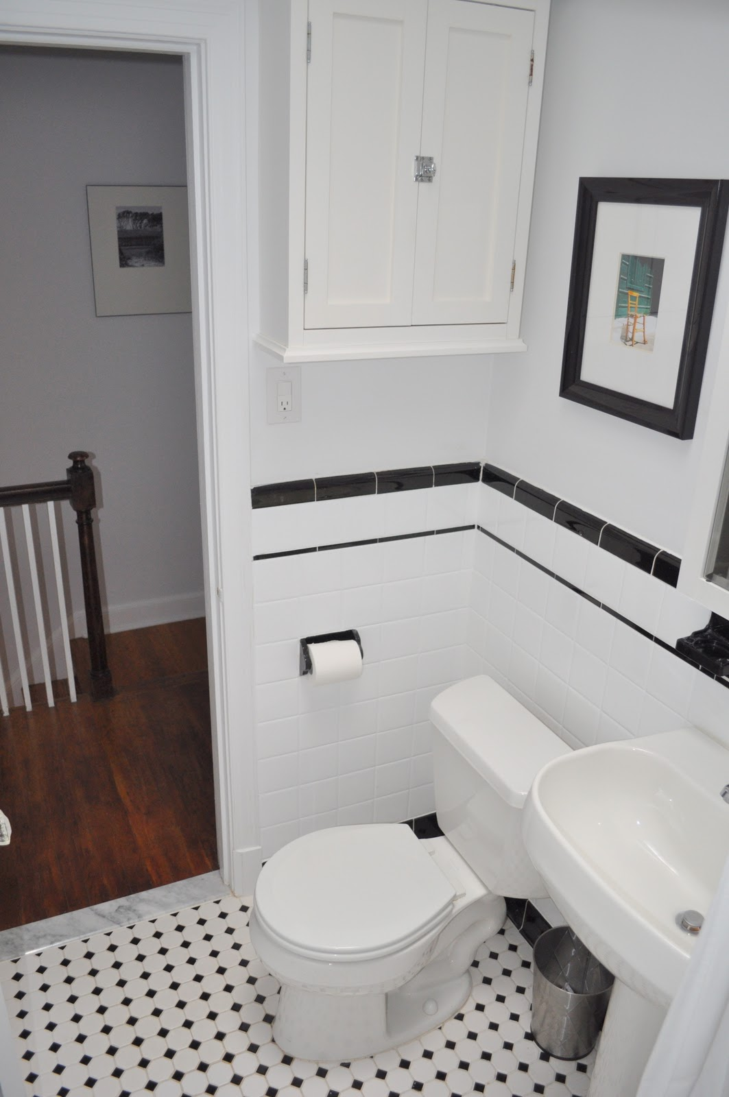 Black And White Bathrooms With Subway Tile Large Subway