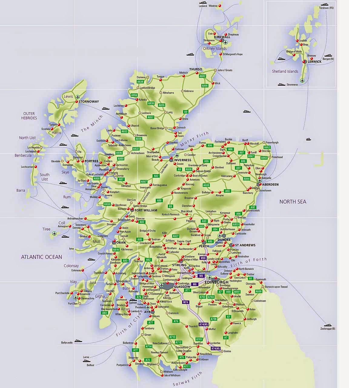 Roads map of Scotland and all towns and cities