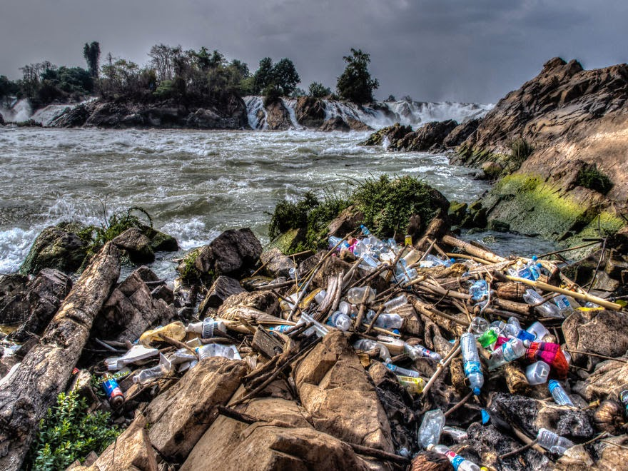 You Will Want To Recycle Everything After Seeing These Photos! - Trash Washed Out To Sea… (Mekong, Laos)