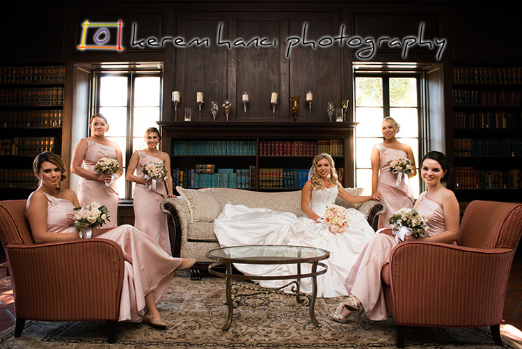 Beautiful bride and her beautiful bridesmaids in the beautiful library of the Villa