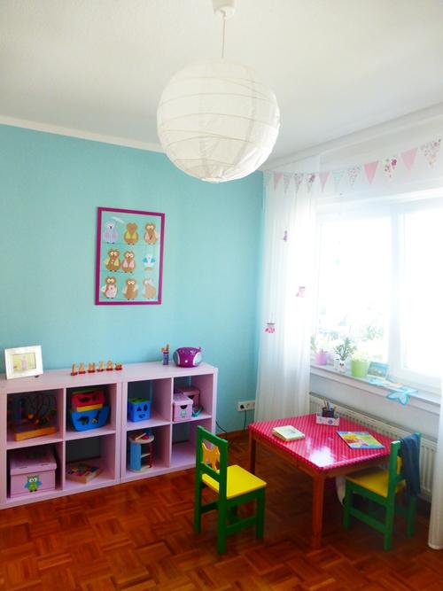 Kinderzimmer blau Eulen Dekoration