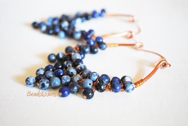 Orecchini grappolo blu
