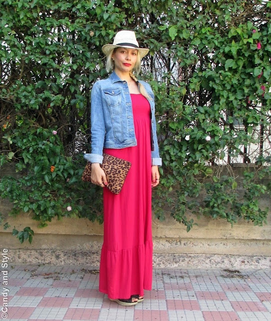 StrawFedora+DenimJacket+MaxiDress+WedgeEspadrilles+LeopardClutch+SideBraid+RedLips - Lilli Candy and Style Fashion Blog