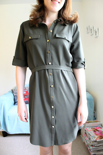 Miss Selfridge Khaki Green Shirt Dress