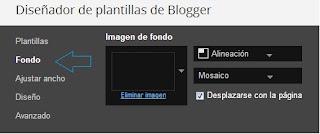 Opción fondo de Blogger