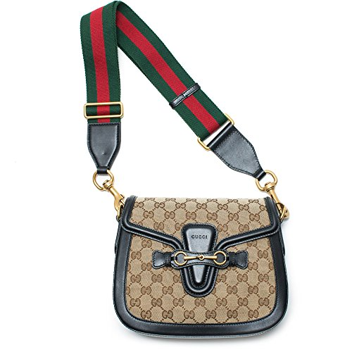 Gucci Lady Web GG Signature Authentic Black Leather Red Strap Italy New Bag  2019