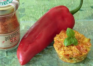 Petits flans poivrons-tomates au piment d'Espelette frais sans gluten, sans lactose et sans oeufs