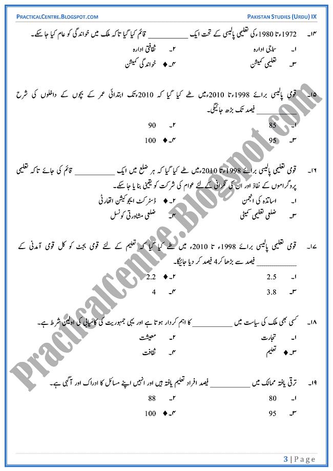 education-in-pakistan-mcqs-pakistan-studies-urdu-9th