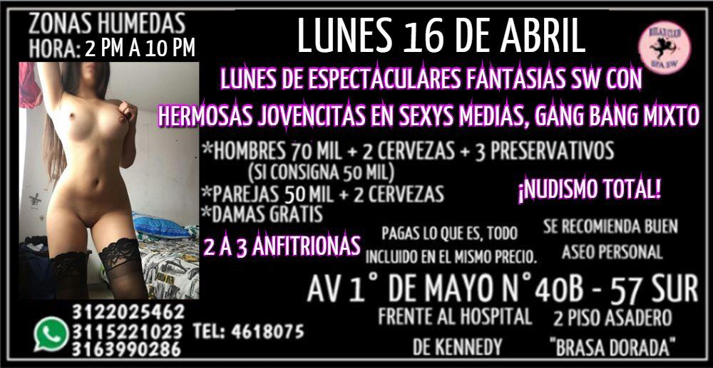 LUNES 16 DE ABRIL DE 2 PM A 10 PM GANG BANG CON HERMOSAS CHICAS