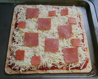 Square pizza with square pepperoni
