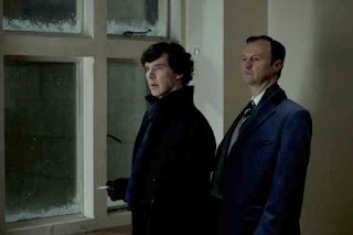 Benedict Cumberbatch and Mark Gatiss as Sherlock Holmes and Mycroft Homes in A Scandal in Belgravia