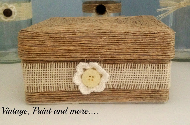 Twine Wrapped Decorative Box   Vintage, Paint and more...